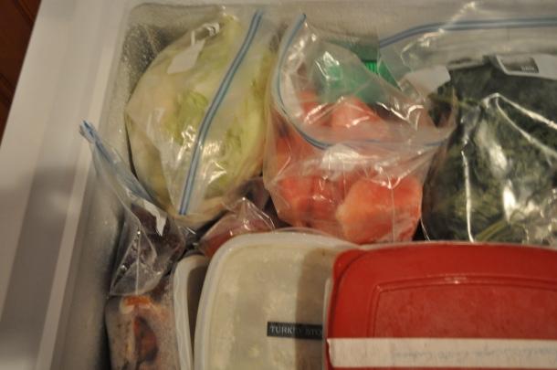pesto, fruit, veggies, broth ready for winter