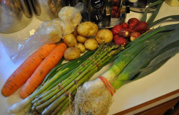 Typical April CSA items